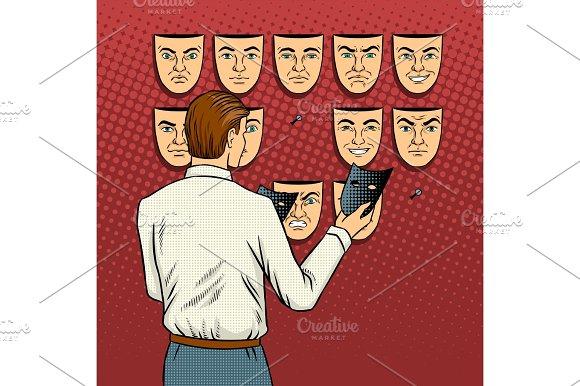 Man chooses the mask pop art vector illustration