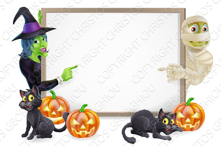 Mummy and Witch Halloween Sign