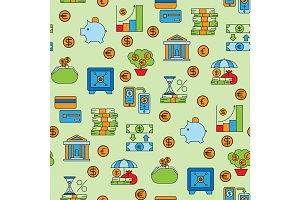 Banking money finance banking services accumulation bank investment vector seamless pattern background