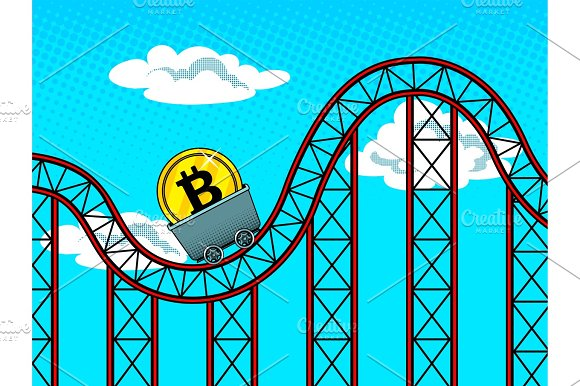 Bitcoin fluctuations pop art vector illustration