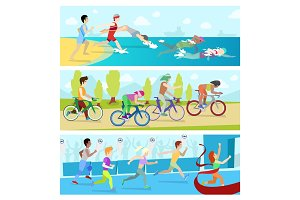 Triathlon sport competition race infographic for marathon vector illustration sportsmen people