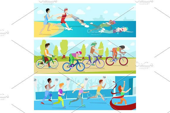 Triathlon sport competition race infographic for marathon vector illustration sportsmen people
