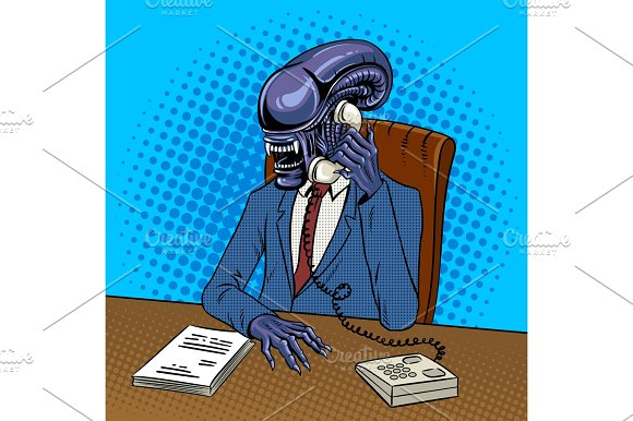 Alien boss talking by phone pop art vector