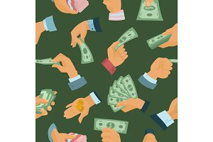 Businessman human hands hold paper money backs seamless pattern background vector illustration
