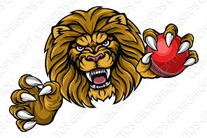 Lion Cricket Ball Sports Mascot