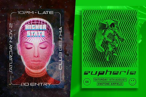 old 90s rave flyers flyer templates creative market