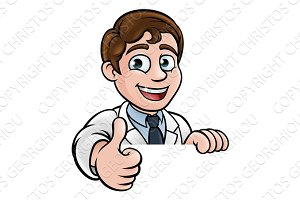 Thumbs Up Scientist Cartoon Character Sign