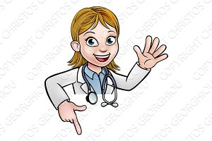 Doctor Cartoon Character Above Sign Pointing