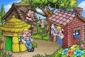 Fairytale The Three Little Pigs Cartoon Scene