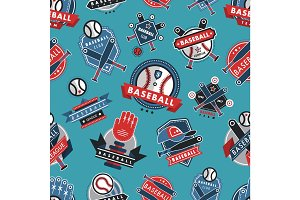 Baseball logo badge seamless pattern background sport club team vector.