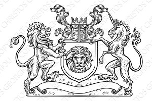 Lion and Unicorn Shield Heraldic Coat of Arms