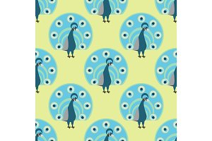 Seamless pattern peacock background vector illustration wild animal characters cute fauna tropical feather pets