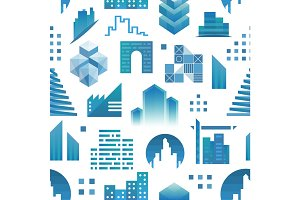 Architecture building skyscraper construction builder developer seamless pattern background real estate vector illustration