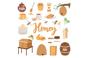 Apiary vector illustrations beekeeping honey jar natural organic sweet insect honied beeswax honeyed beehive beekeeper tools.