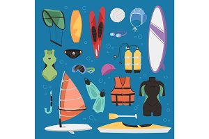 Kite boarding fun ocean extreme water sport canoe surfer sailing leisure ocean activity summer recreation extreme vector illustration.