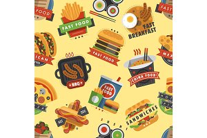 Fast food restaurant product seamless pattern background meal hamburger vector illustration.