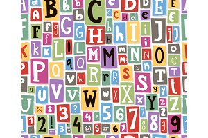 Colorful vector alphabet letters made of newspaper magazine font type typography note seamless pattern background