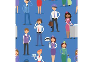 Vector Illustration airline plane seamless pattern background staff pilots and stewardess air hostess flight attendants people command