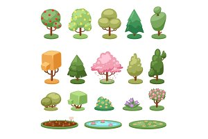 Different game green tree bush and ground isolated nature environment leaf plants vector illustration.