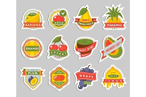Fruits logo badges template vector icons illustration for farm and product design