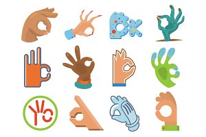 Ok hand human sign okey yes agreement signal vector illustration