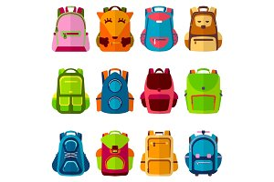 School kids school backpack Back to School rucksack vector illustration