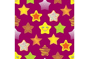 Shiny stars different style seamless pattern background vector illustration.