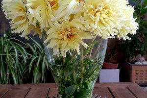 Decorative yellow dahlias bouquet