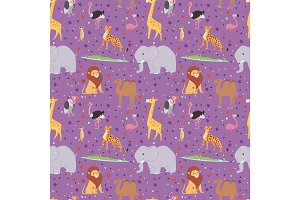 African wild animals outdoor graphic travel seamless pattern background