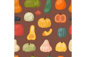 Fresh pumpkin seamless pattern background seasonal ripe food organic healthy vegetarian vegetable vector