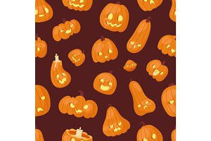 Halloween pumpkin creepy face head vector illustration seamless pattern background
