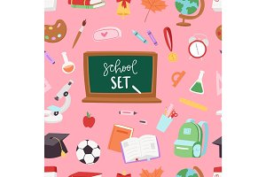 School supplies symbols seamless pattern background equipment vector illustration. Back to school