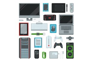 Electronic computer devices gadgets icons technology multimedia devices everyday objects control vector illustration.