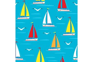 Ship sailing boat sea seamless pattern vessel travel vector sailboats marine background.
