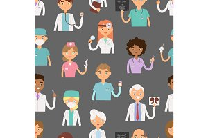 Different doctors profession charactsers seamless pattern background vector medical people