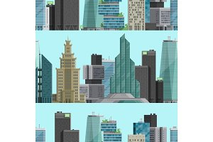 Urban City outdoor landscape skyscraper house outdoor seamless pattern background cityspace vector illustration background