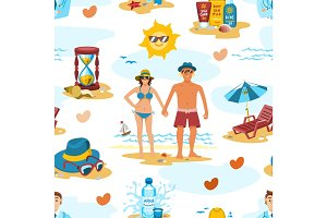 Family couple on the beach vector characters people romance lovers holiday vacation travel time seamless pattern vector background