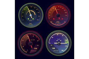 Set of isolated speedometers for dashboard