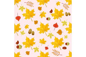 Autumn yellow maple leaf season nature seamless pattern plant foliage bright decoration natural vector illustration.