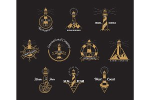 Set of isolated lighthouse icons with rocks