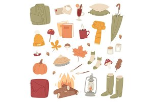 Autumn season icons symbol vector illustration