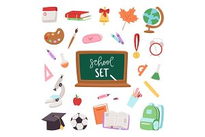 School supplies symbols isolated equipment vector illustration. Back to school icons