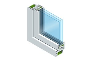 Isometric Cross-section diagram of a triple glazed window pane PVC profile laminated wood grain, classic white. Flat illustration of Cross-section diagram of glazed windows
