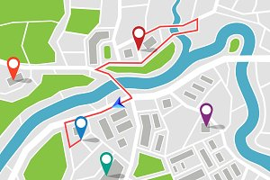Map with route and gps pointers