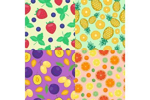 Cartoon fresh pineapple fruits in flat style seamless pattern food summer design vector illustration.
