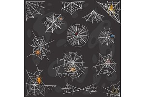 Spider Halloween celebration decoration web silhouette vector set