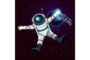 Spaceman or cosmonaut, astronaut in space