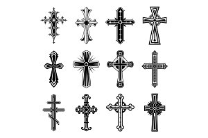 Set of isolated christian and catholicism crosses