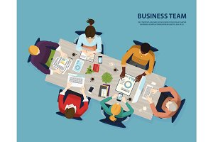 Meeting of business team, people meeting top view