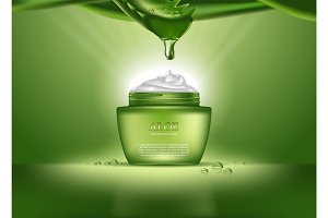 Cosmetics bottle or container with aloe vera cream